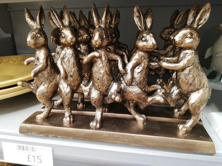 Dunelm ornaments gold Rabbits