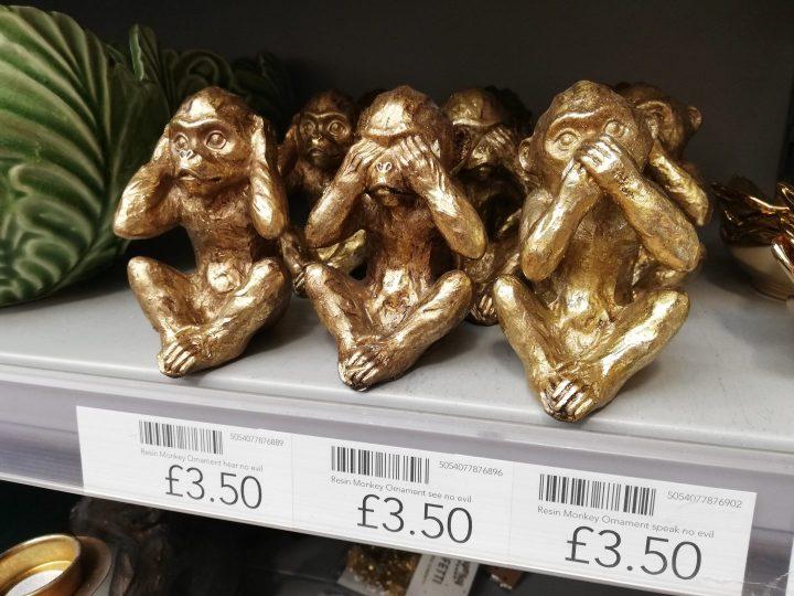 Dunelm ornaments gold monkeys