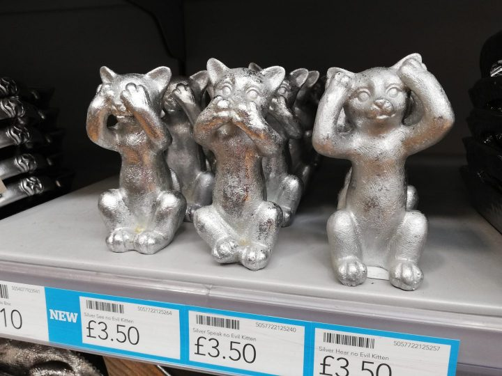 Dunelm ornaments silver cats